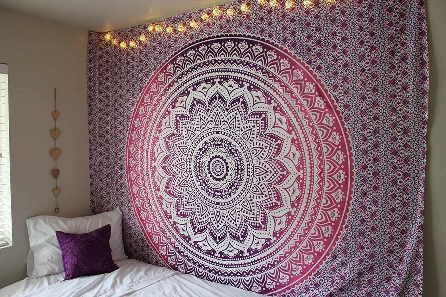 boho tapestry wall covering in bedroom