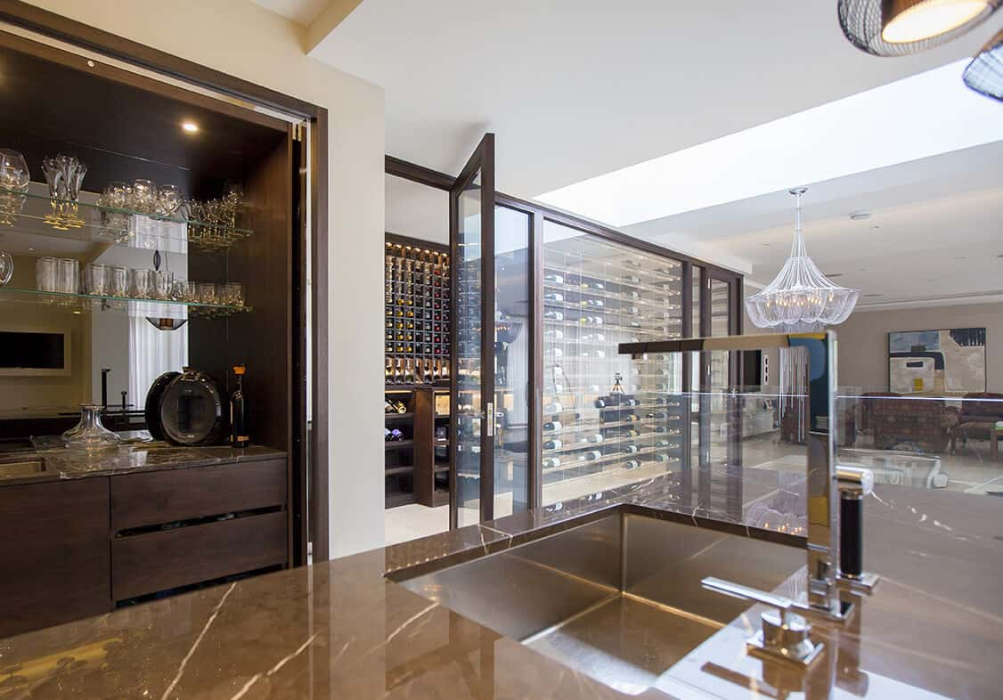 clear casing wine cellar
