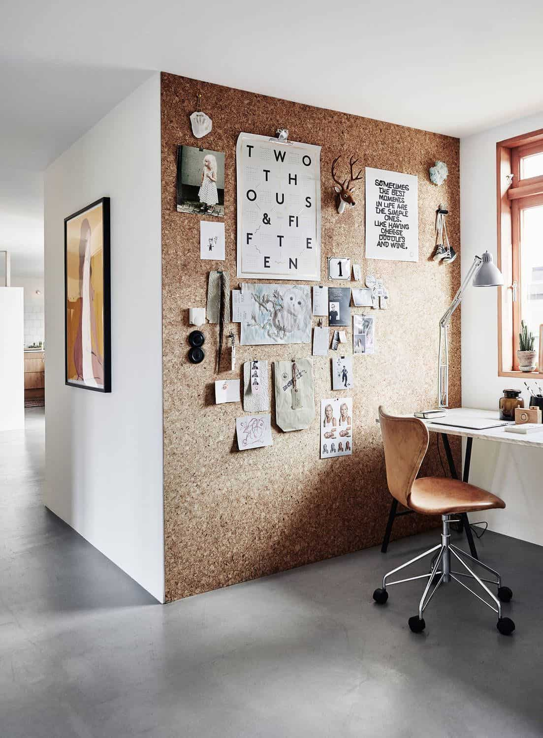 cork wall covering home office