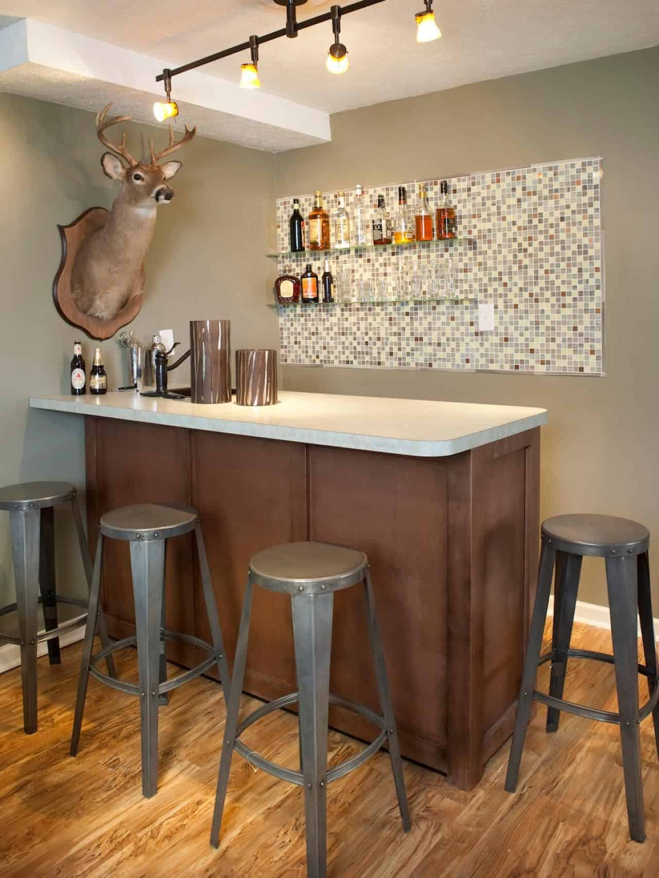 corner basement bar