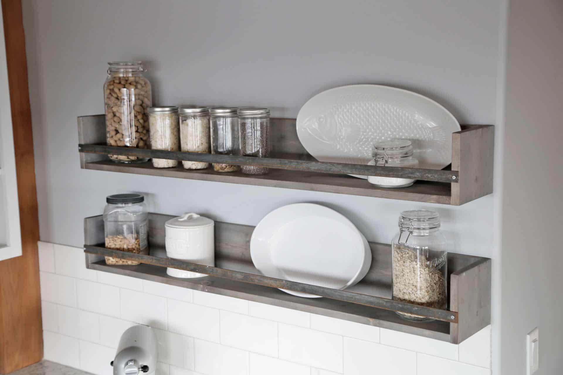 diy gray rustic shelves