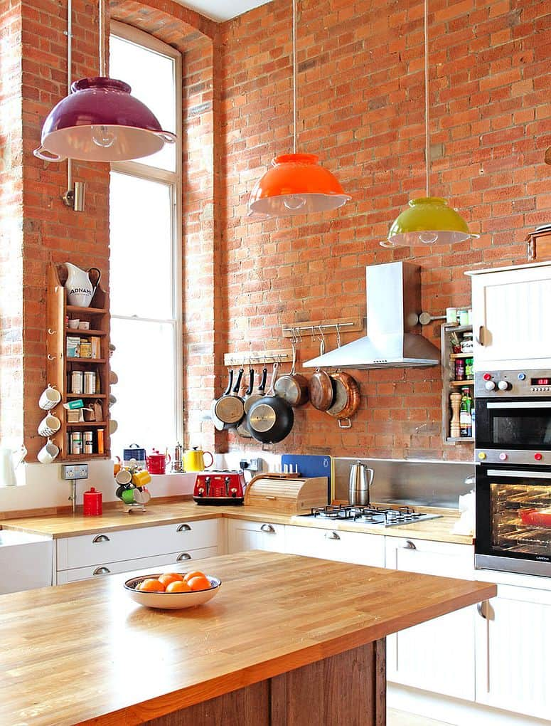 eclectic kitchen colorful lights