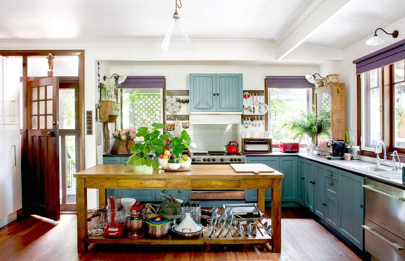 eclectic kitchen deisgn with texture
