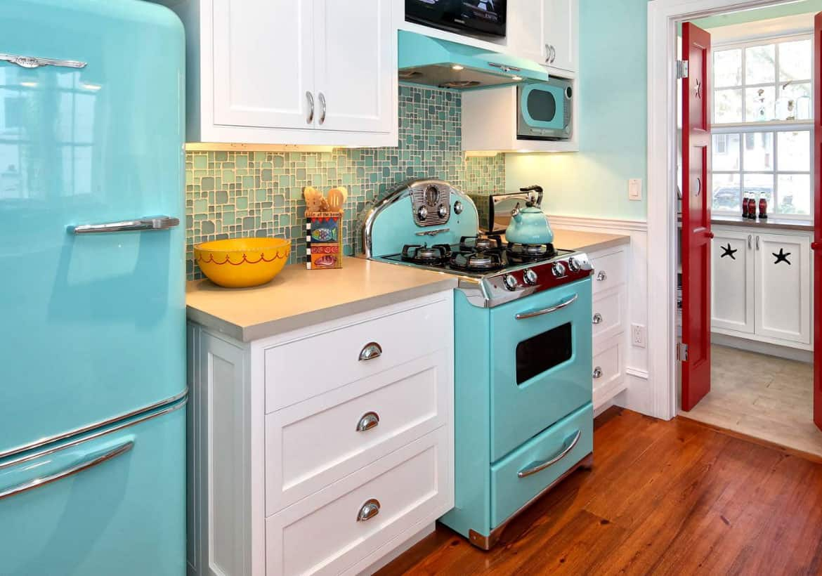 eclectic kitchen with colorful appliances