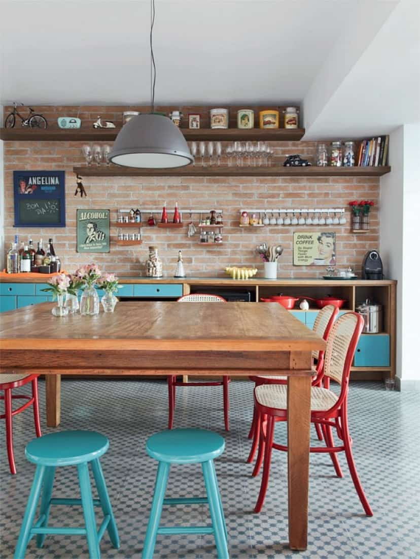 eclectic kitchen with table