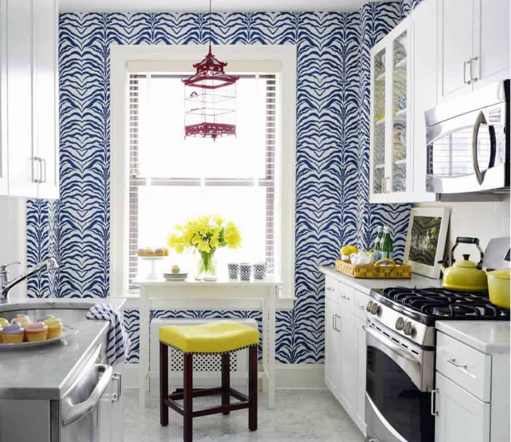 eclectic kitchen with wallpaper