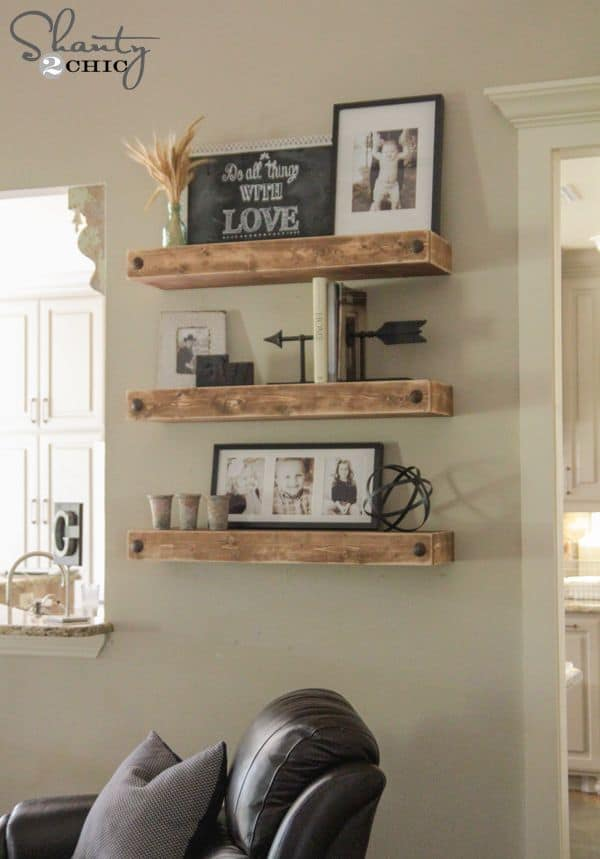 floating rustic shelves