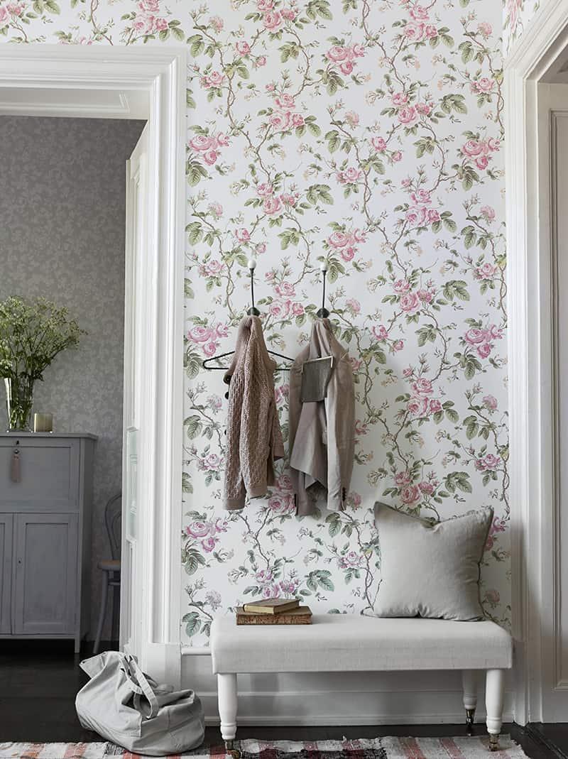 floral hallway wallpaper