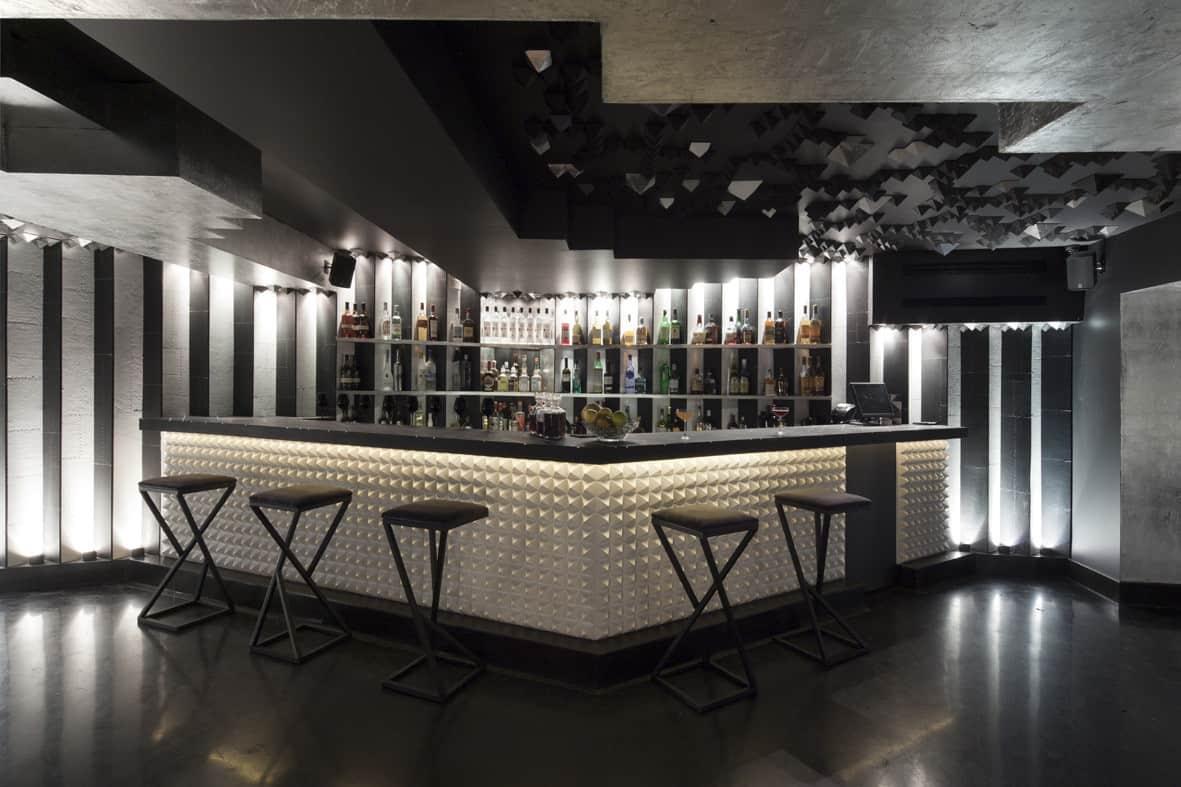 futuristic basement bar