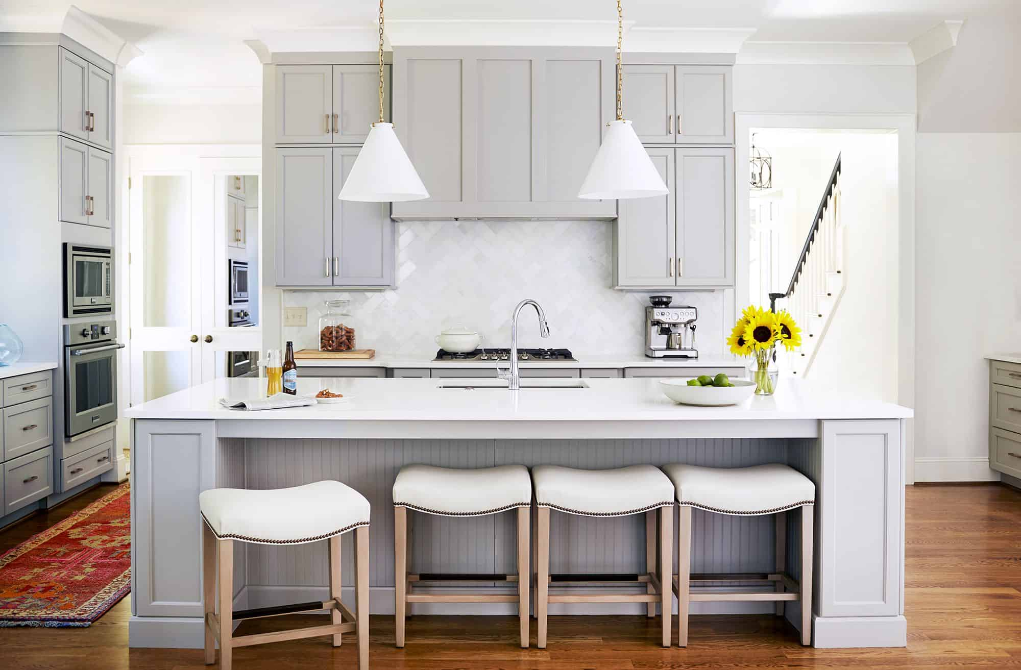 gray kitchen wth concealed hood