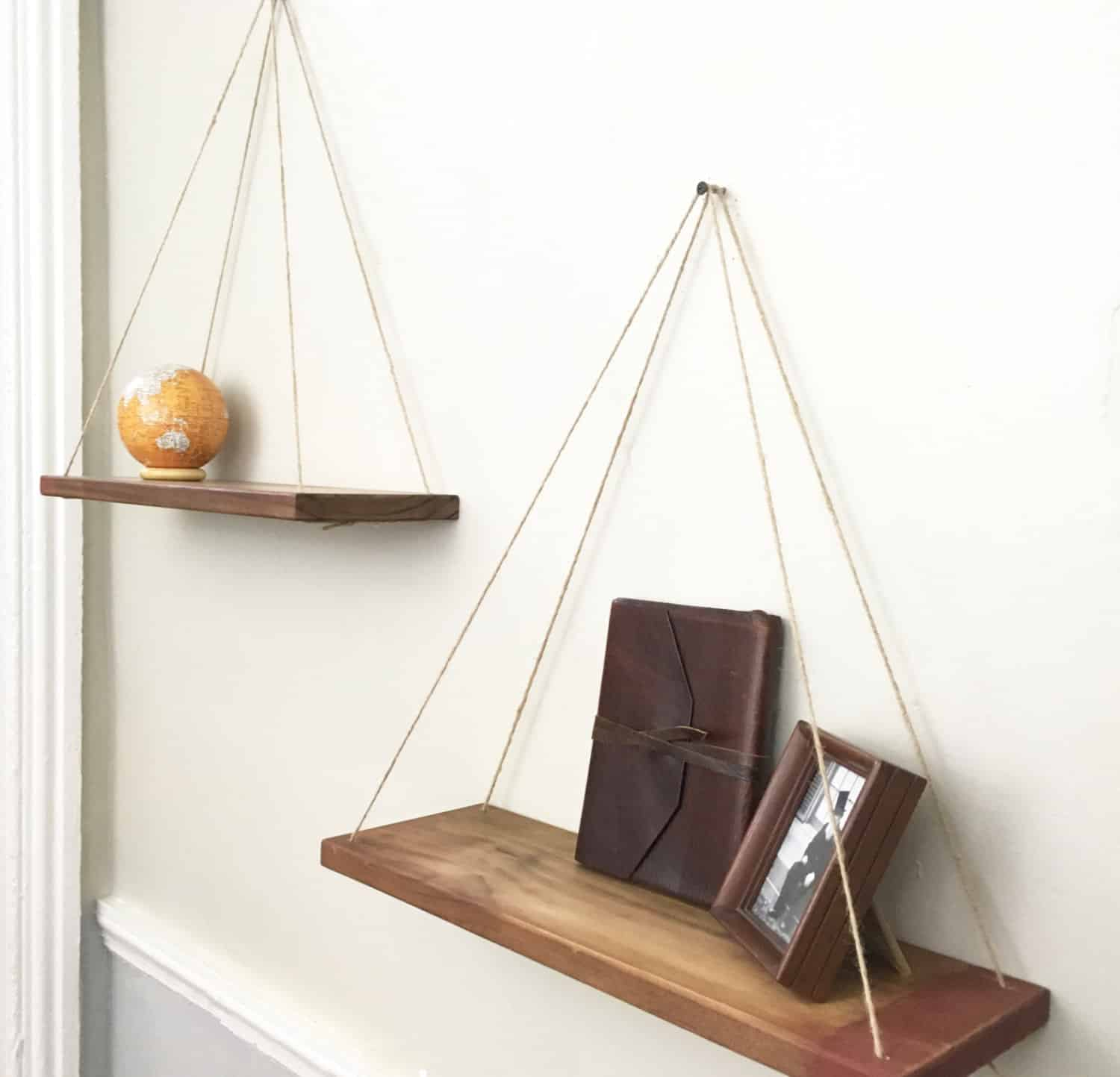 hanging rustic shelves