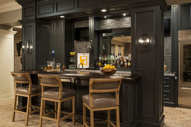 masculine old school home basement bar