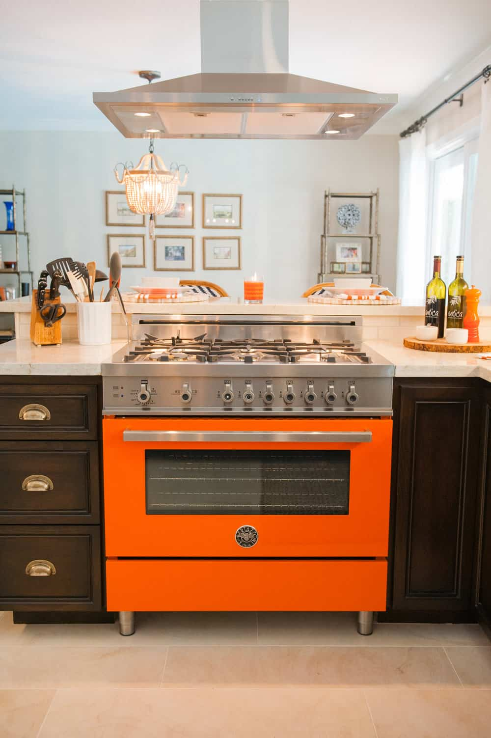 masculine orange kitchen