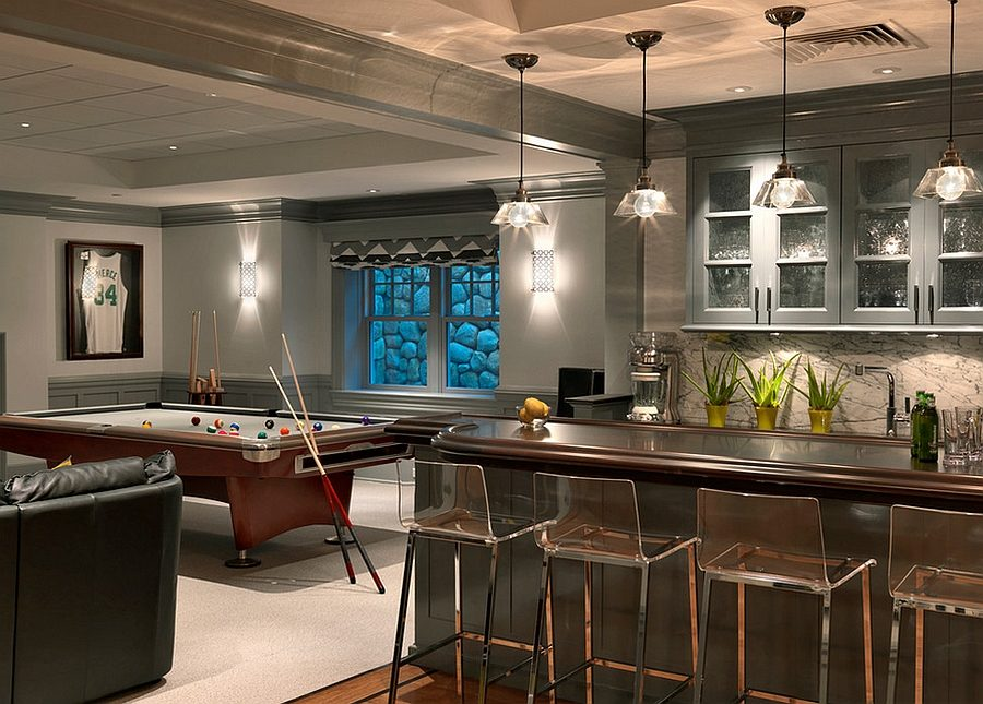 modern and chic basement bar 900x645 15 Basement Bar Designs To Finish Off That Man Cave