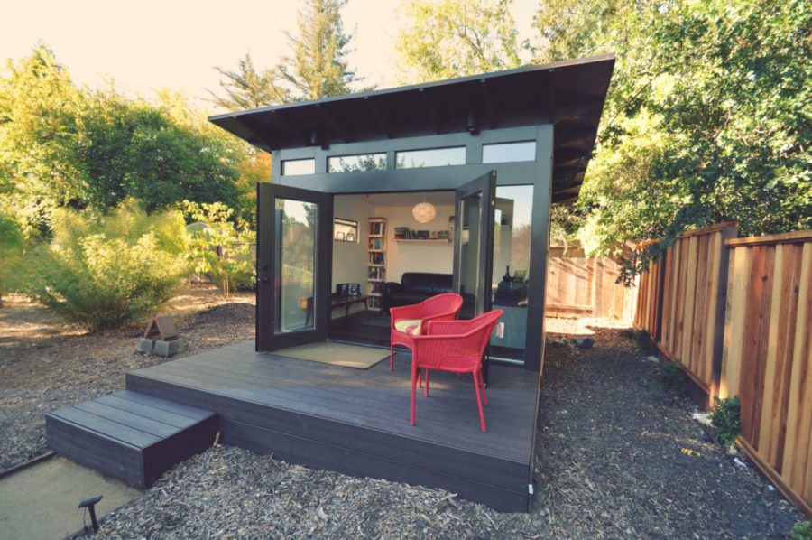 modern black studio shed 900x598 15 Versatile Studio Shed Ideas To Transform Your Backyard