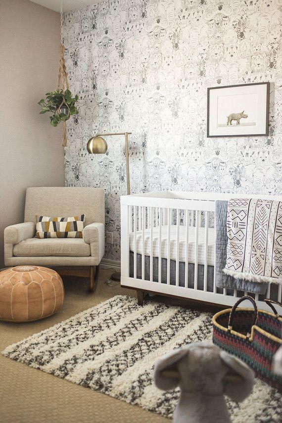 neutral nursery wallpaper