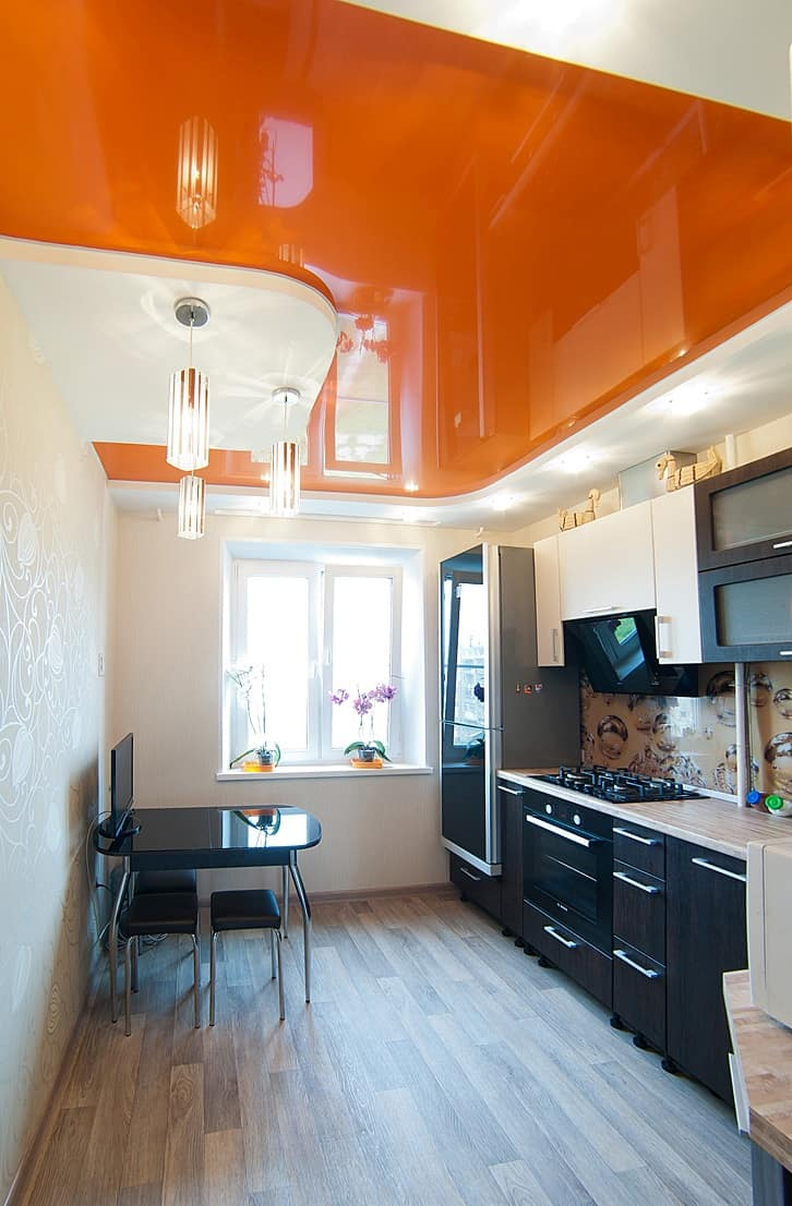 orange ceiling in kitchen Brighten Up Your Home With An Orange Kitchen
