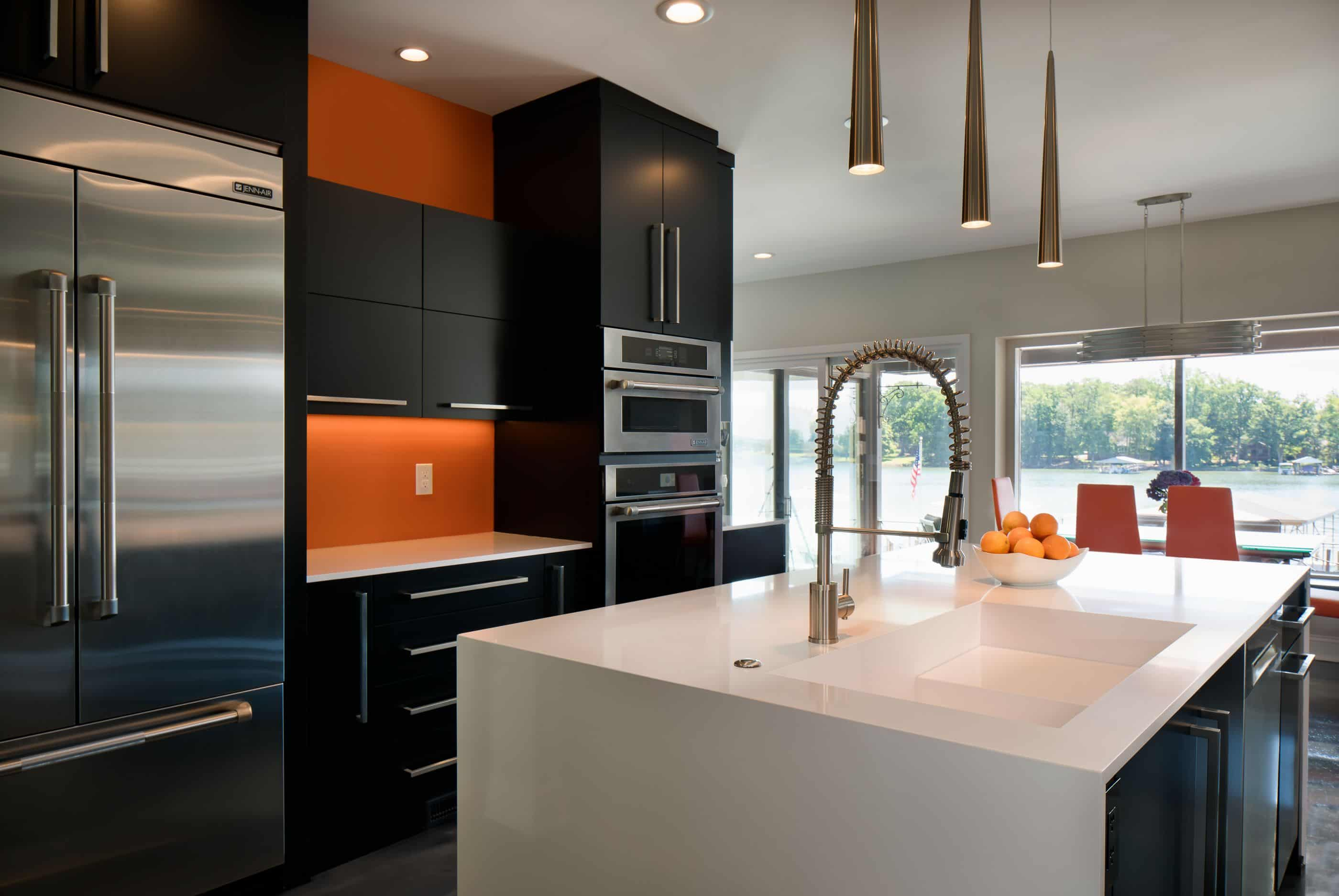 orange kitchen with metallic