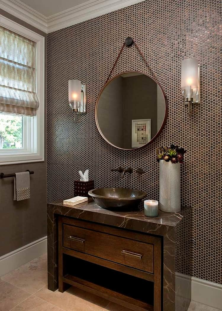 penny tile wall bathroom