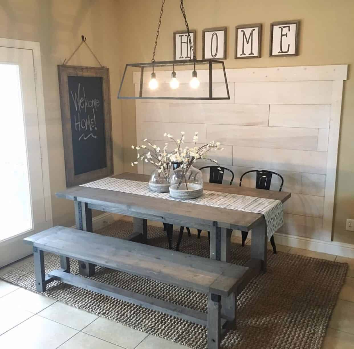 picnic table in kitchen