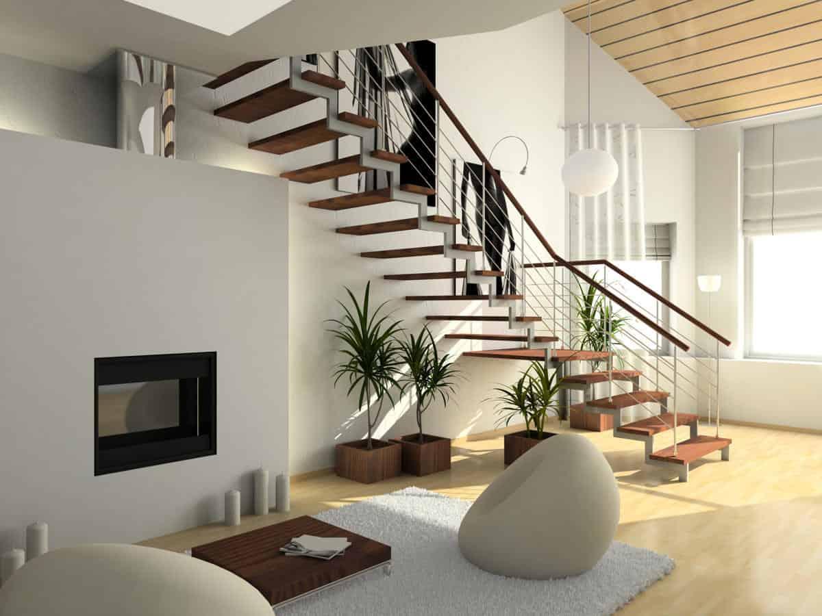 plants in stairway