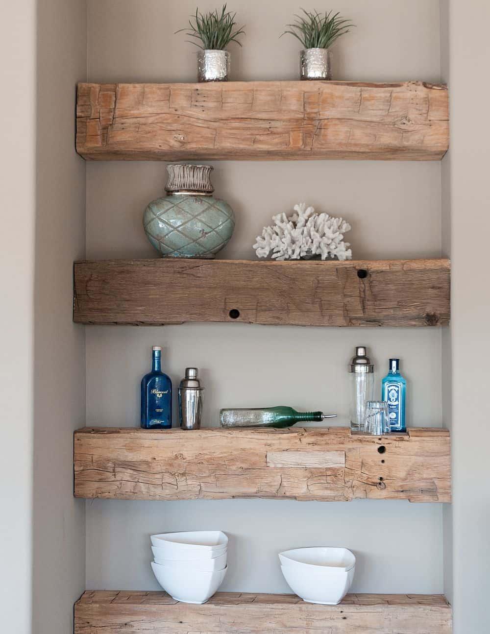 rustic shelves corner