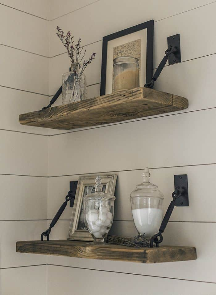 rustic wood and metal shelves 15 Rustic Shelving Options For Your Farmhouse Flavored Home
