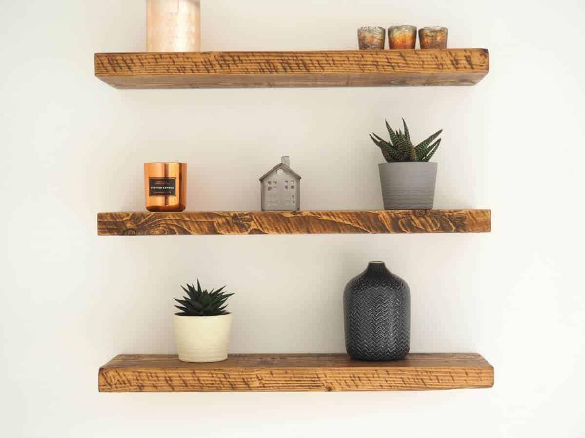 simple rustic wooden shelves