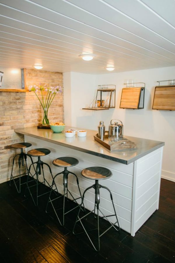 simple white and exposed brick basement bar-2