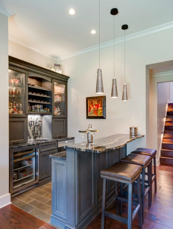 traditional gray basement bar-2
