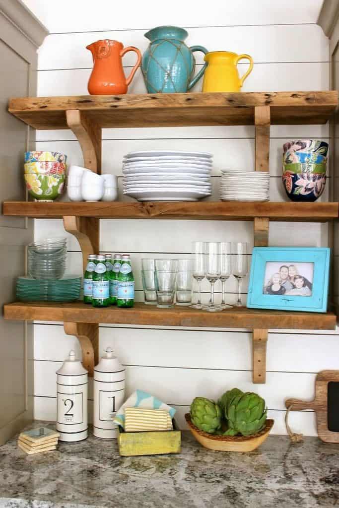 traditional rustic wood shelves