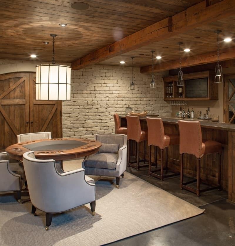 traditional southern basement bar