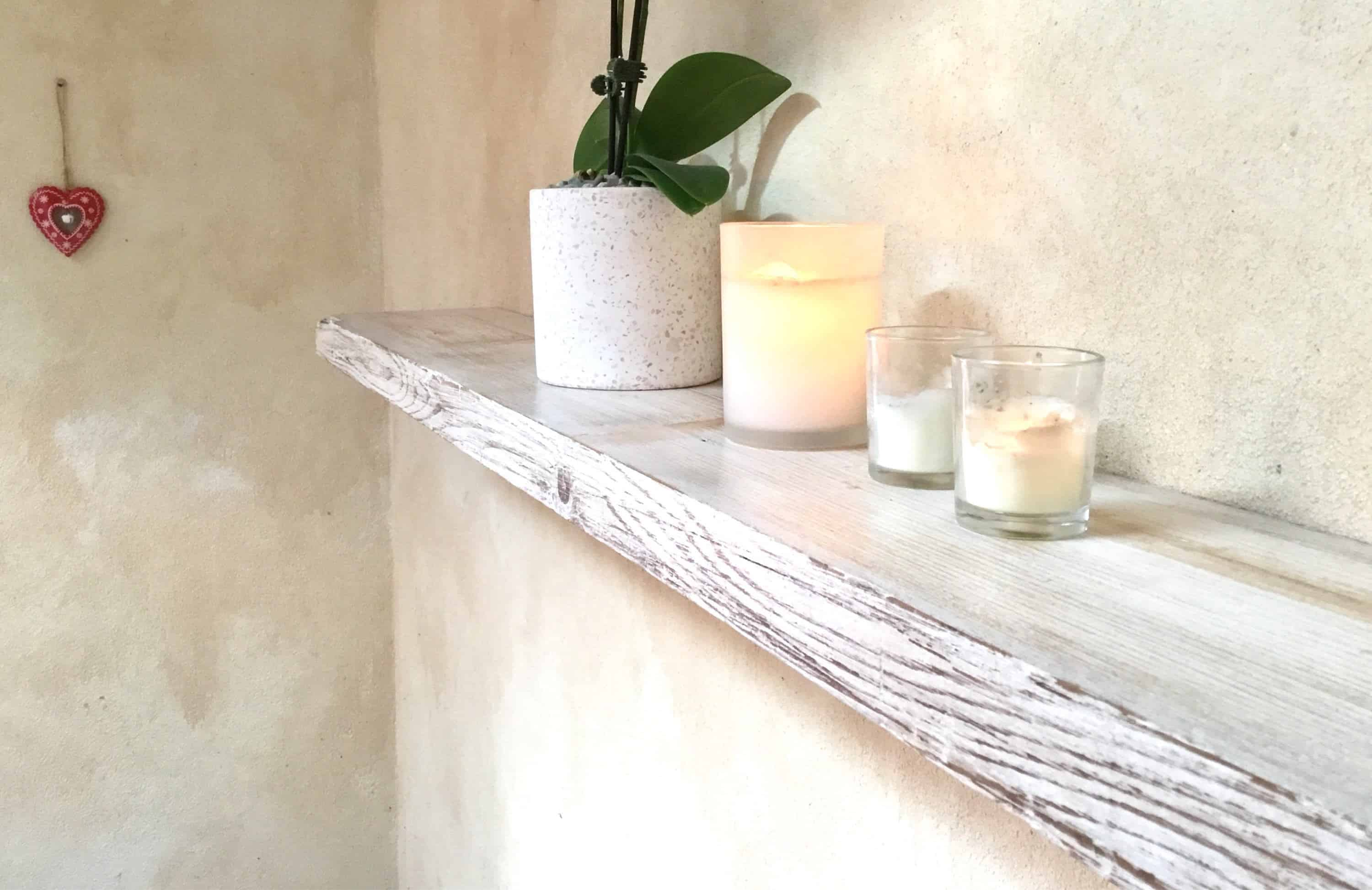 white distressed rustic wood shelves