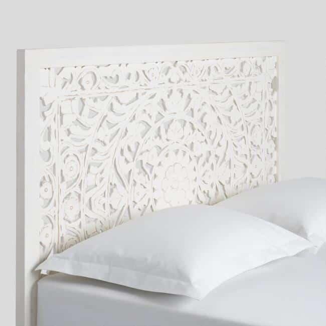 whitewashed carved zaria headboard