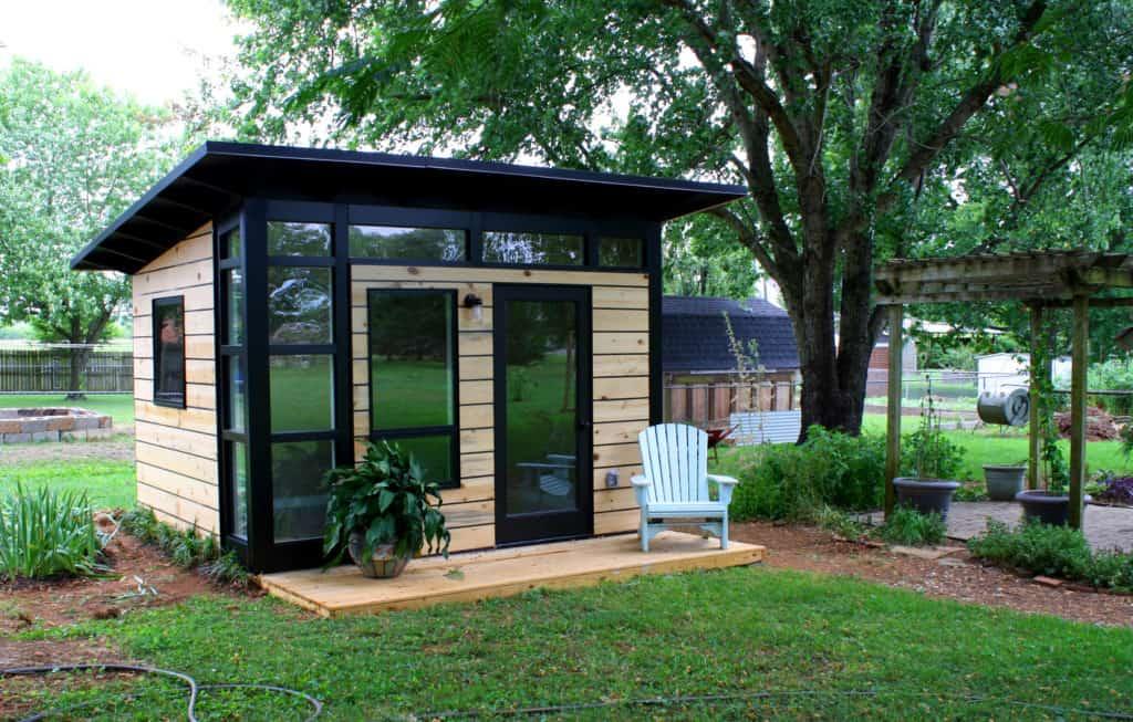 wood and modern studio shed