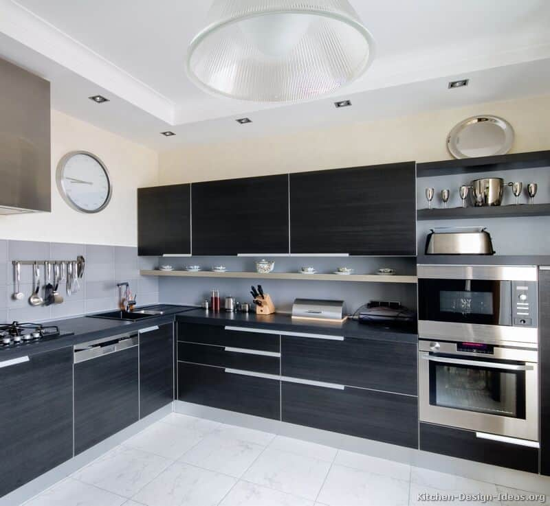 black and steel kitchen cabinets