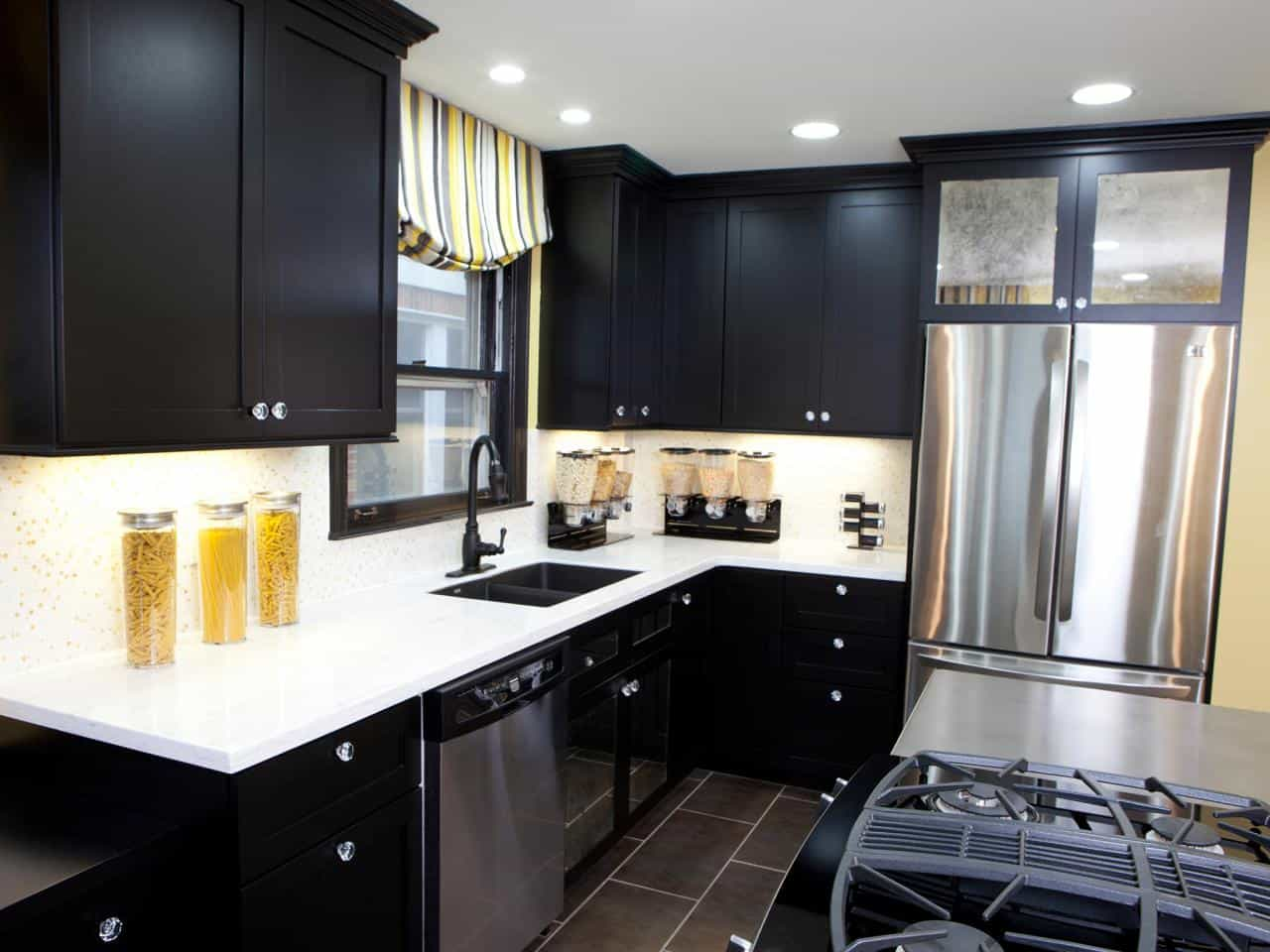 black cabinets with gold and yellow accent