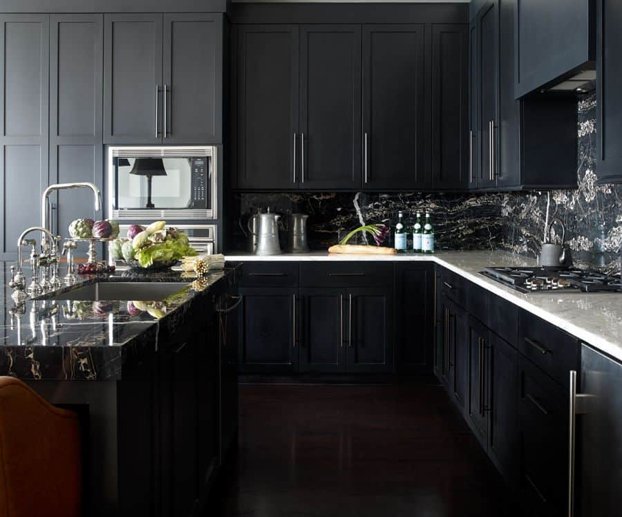 black kitchen cabinets with contemporary hardware