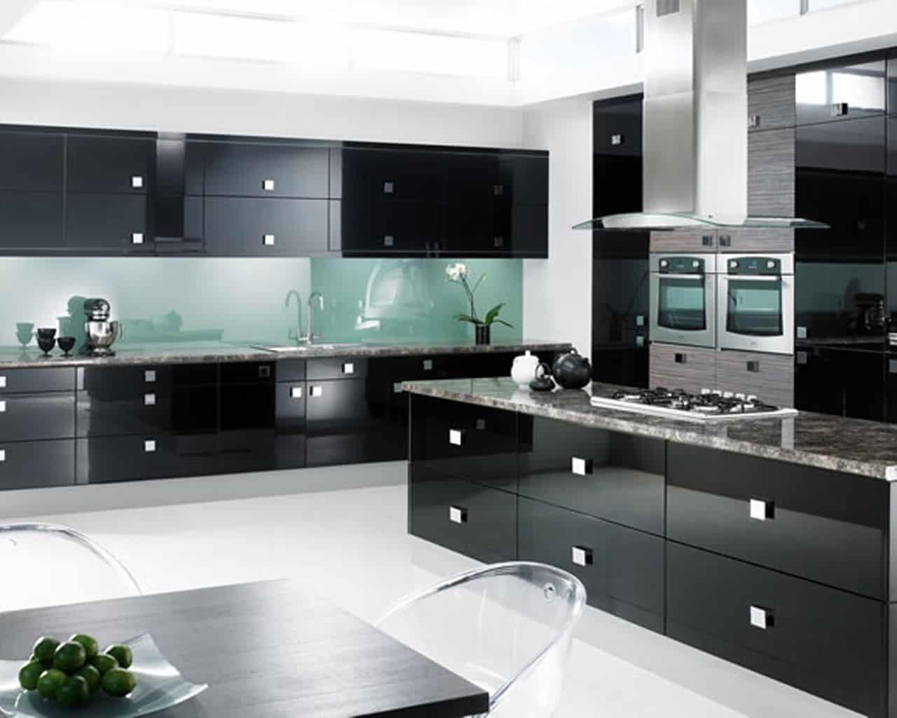 black kitchen cabinets with steel accents