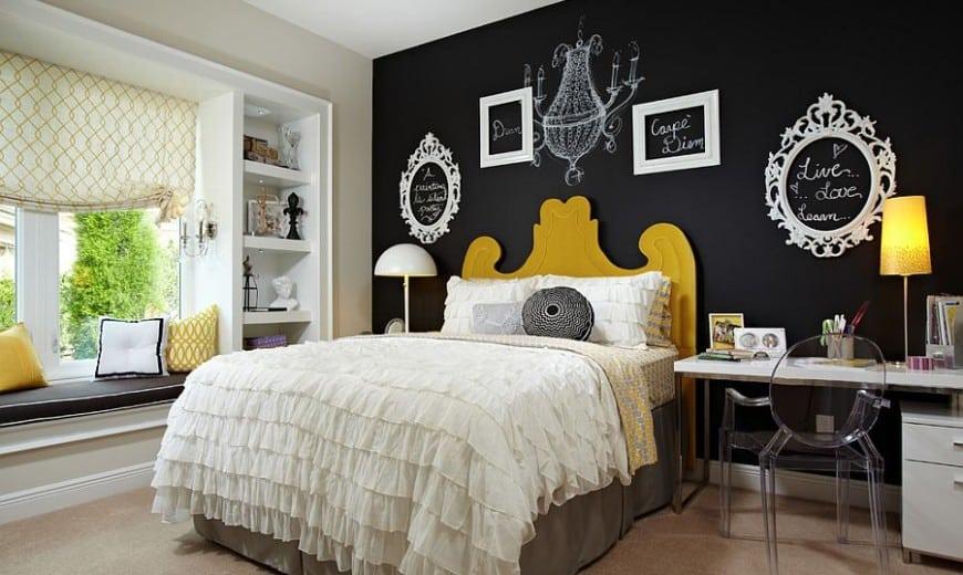 chalkboard wall in bedroom