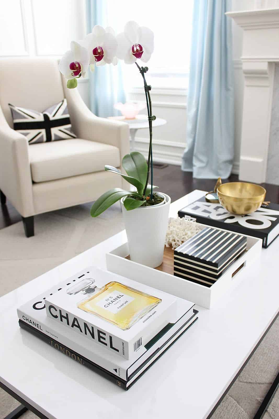 coffee table with books feminine