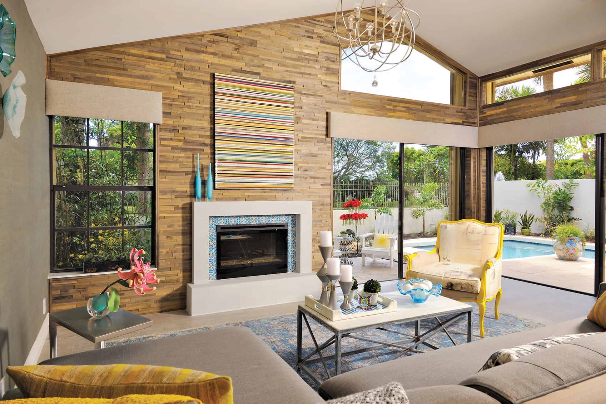 colorful fireplace lining