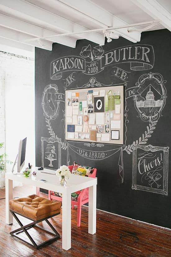home office chalkboard wall