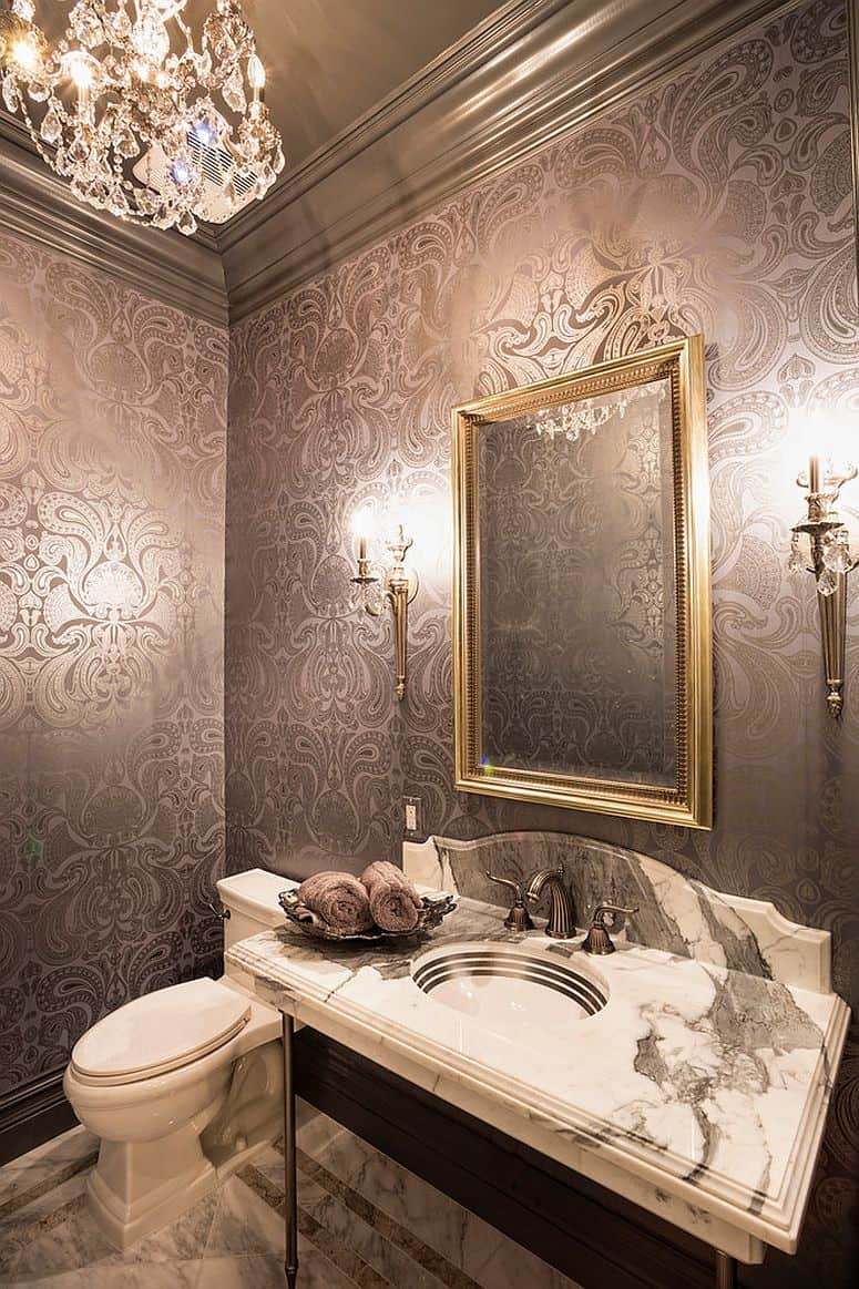 metallic powder room wallpaper 11