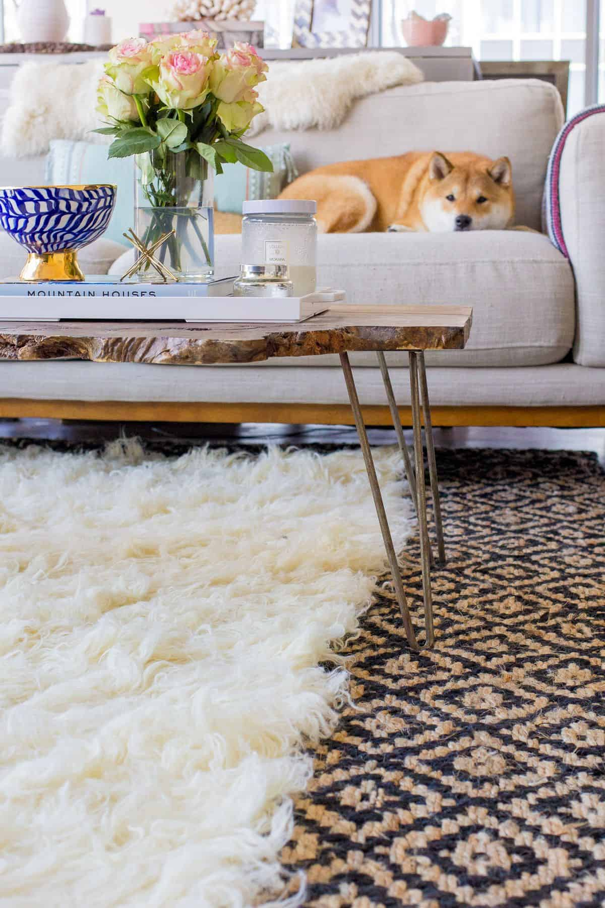 rug underneath coffee table