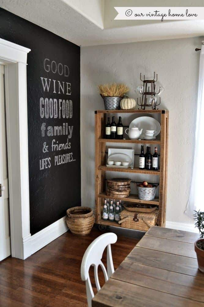 rustic dining room with chalkboard wall