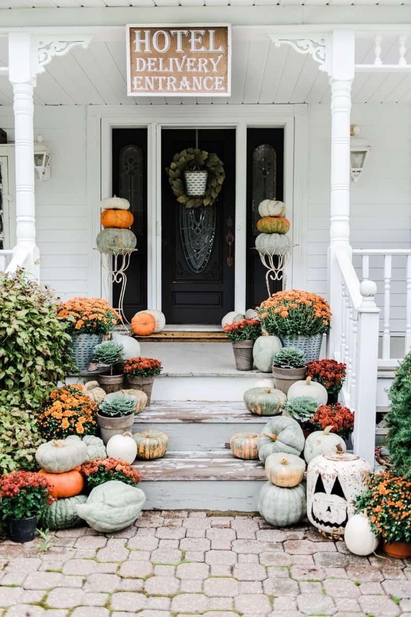 rustic halloween porch
