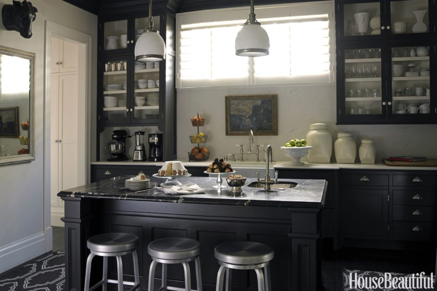 traditional kitchen with black cabinets 900x600 15 Black Kitchen Cabinets That Youll Swoon For