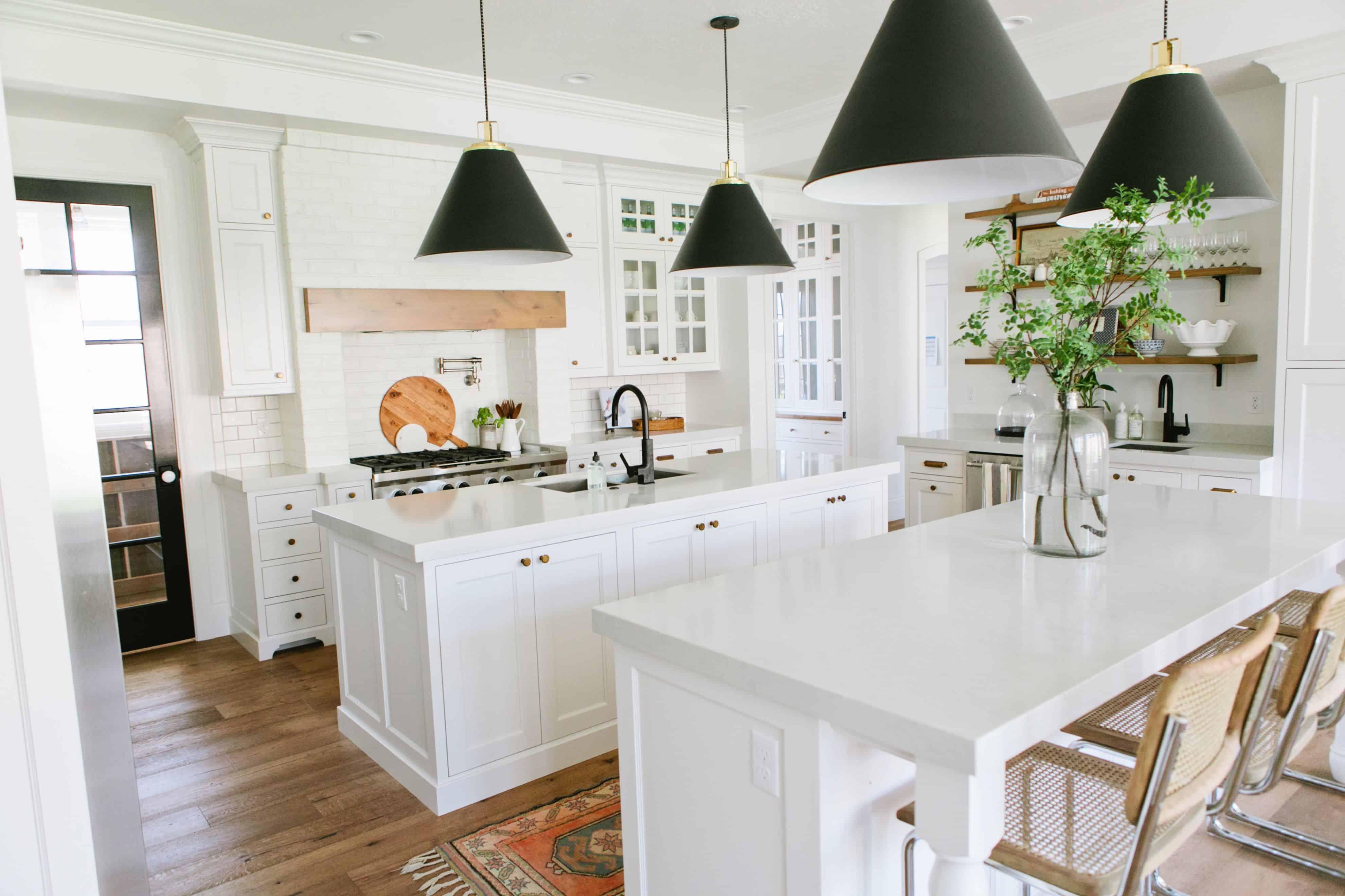 white kitchen with black