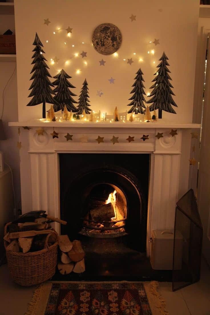 christmas lights on mantel